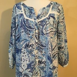 Avenue Women's 14/16 Button Front 3/4 Sleeve Top